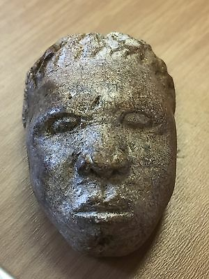 Old Carved Stone Head Tribal ? Pre Columbian Ancient Chinese ??
