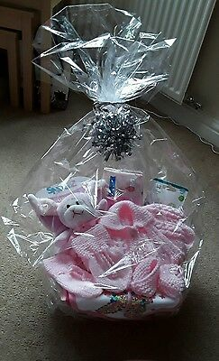 Newborn Gift basket baby girl, hand knitted items, Easter, baby shower, present