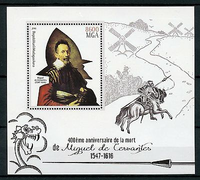 Madagascar 2016 MNH Miguel de Cervantes Don Quixote 1v S/S Writers Stamps