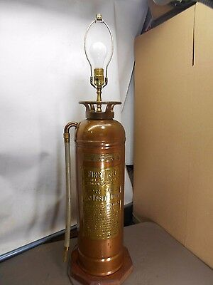 VINTAGE / ANTIQUE Copper & Brass -FIRE  EXTINGUISHER  LAMP-----Reads-FIRST AID