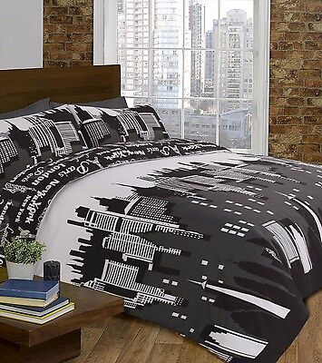 Modern Duvet Cover & Pillow Case Bedding Set SKYLINE GREY BLACK -Size KING