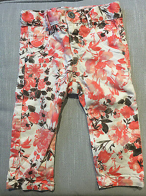 Baby Girls Name It Orange and White Floral Jeans - 9-12 Months