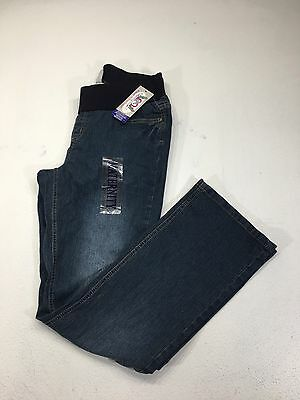 Women's Maternity Dark Wash Pull On Elastic Band Jeans Size M 8-10
