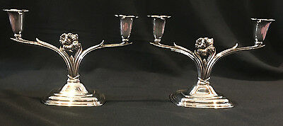Daffodil 1950 International Silverplate Pair Candelabras Candle Holder NEW PICS