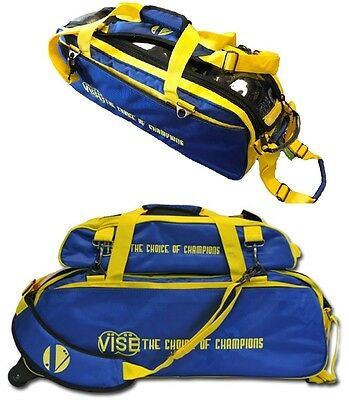 Vise 3 Ball Tote Bowling Bag with shoe pocket & Matching 3 Ball Tote Blue/Yellow