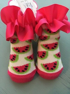 Mud Pie BOUTIQUE Pink Green Watermelon Ruffled Socks Booties NWT 0-12 months