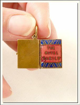 KING EDWARD VII ~ 1900's ~ ROYAL FAMILY MINIATURE PHOTO BOOK LOCKET ENAMEL CHARM