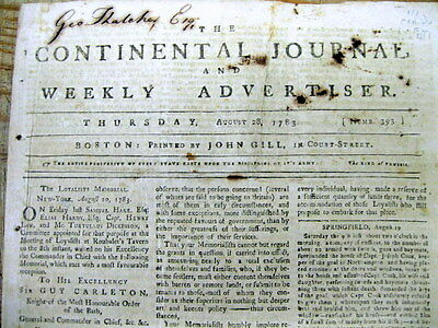 1783 Revoluitionary War newspaper General GUY CARLETON evacuation NEW YORK CITY