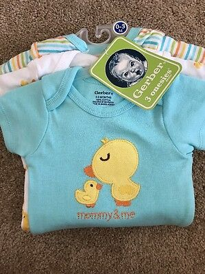 NWT Gerber 3 Pack Gender Neutral Duck Mommy And Me Onsies Size 0-3 Month