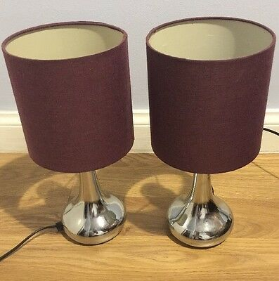 2 Purple Bedside Lamps Touch Base For On And Off