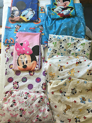 DISNEY MICKEY MOUSE MINNIE & FRIENDS BABY CRIB FITTED FLAT SHEET + Pillowcase