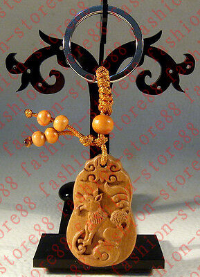 Classical carved wooden Lucky Zodiac dog statue Key chain keyring