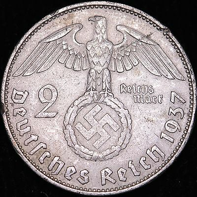 1937A Germany Third Reich Silver 2 Mark WWII Era Coin #TF