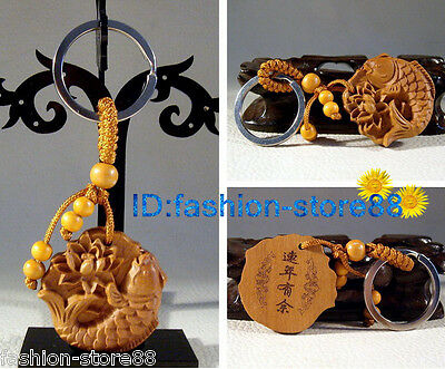 Hot Beautiful Classical Carved Lotus Fish wooden key chain keyring (Lucky Fish)