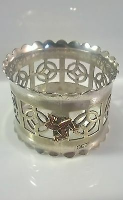 Unusual Antique Silver Plated Isle of Man Enamelled. Pierced work, Napkin Ring