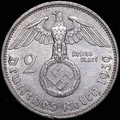 1939A Germany Third Reich Silver 2 Mark WWII Era Coin #JF