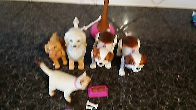 barbie pets - mika the cat and 4 dogs with walker