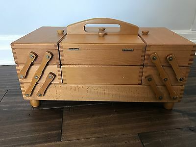 Vintage Accordion Fold Out Wooden Sewing Box Basket Cabinet Romania