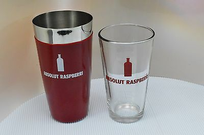 Absolut Raspberri Vodka Metal Pint Glass Boston Shaker Tin Set Bar Cocktail