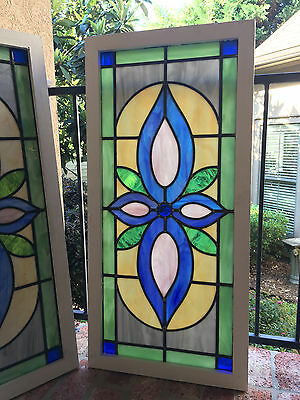 Antique English Leaded Stained Glass Window Wood Frame 42 x 20 Arts & Crafts   a