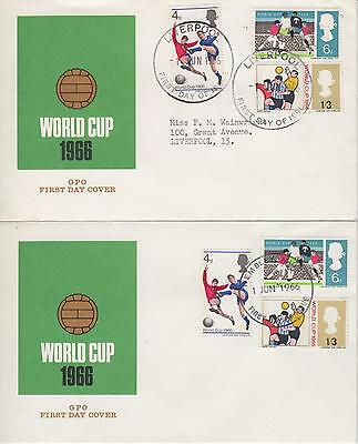 GB Sir 1966 World Cup (phos) Pair of illustrated FDC WEMBLEY & LIVERPOOL