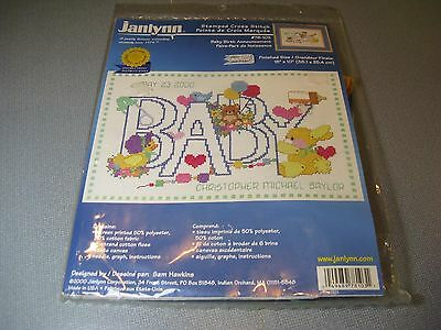 2000 Janlynn 78-103 BABY Birth Announcement Cross Stitch KIT NIP Sealed Boy Girl