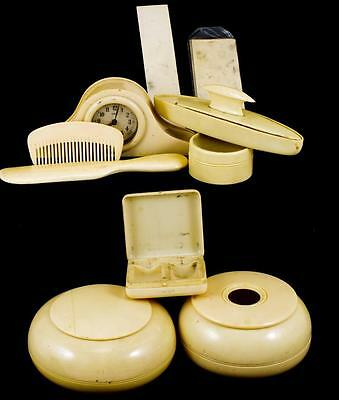 "Antique ""french Ivory"" Celluloid Cosmetic Vanity Set Circa 1920 Ref: 5285M"