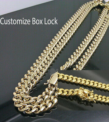 "10K Yellow Gold Men's 6mm Miami Cuban Chain With Box Lock 22"" Long"