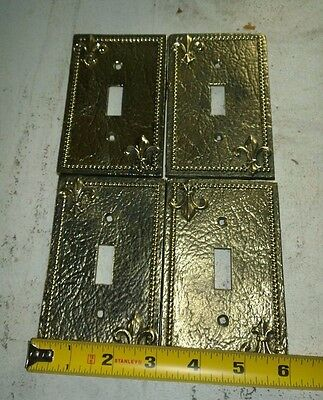 "Vintage Solid Brass Light Switch Cover ""Fleur De Lis"" Lot Of 4"