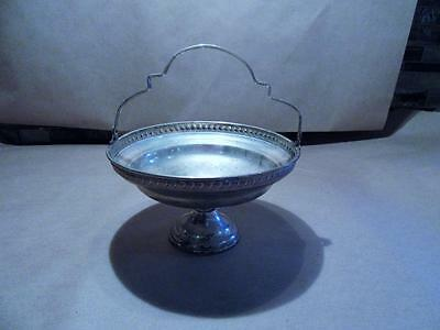 Antique Sterling Silver Pedestal Candy Dish w Handle