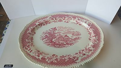 "WOOD & SONS - Seaforth - Red/Pink Rope Scalloped 18 "" Platter"