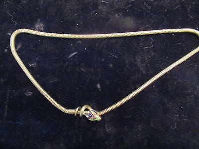 Very Unusual Brass and Enamel Snake Head Necklace Vintage