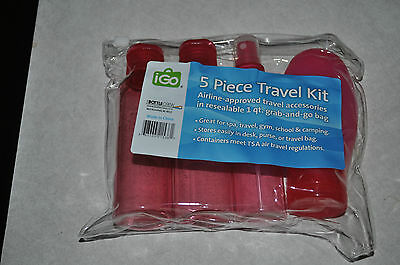 NEW 5 Piece Travel Kit With Plastic Zipper Bag TSA Air Travel Airline Approved