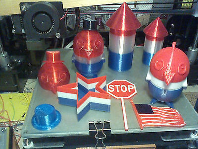 Patriotic 3d printed items. 4th of July Bird, Containers, Firecracker Star +more