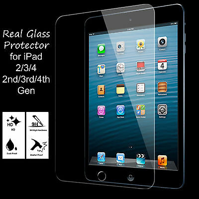 Genuine Premium Tempered Real Glass Film Screen Protector For Apple iPad 1/2/3/4