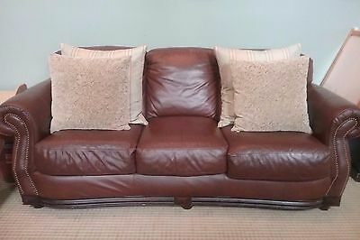LEATHER COUCH WITH nailhead trim - $399.00 | PicClick