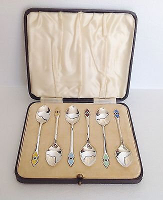 Birmingham Sterling Silver Enameled Art Deco Guilloche Spoon Set Original Case