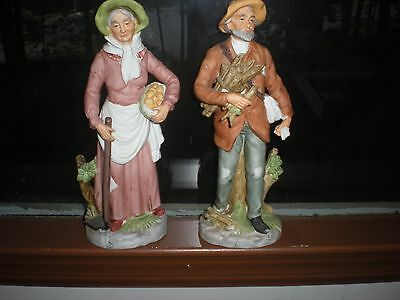 Home Interior Homco Pair Old Man & Woman Figurines Number 8884