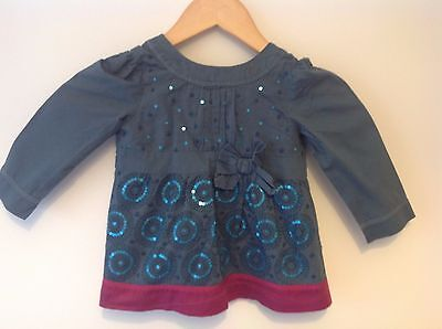 Marks & Spencer Autograph Girl's Top - Blue/Pink/Sequins 18 Mths-2 Years MINT