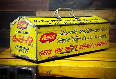 1963 Anco Wiper Blades Service Kit Industrial Yellow Advertising Metal Tool Box