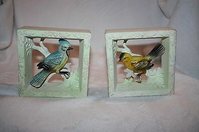 VIntage Pair of Lefton Box Frame Wall Hangings Finch/Blue Jay