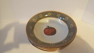 Block Country Orchard Gear  Lot Of 4 Cereal/soup  Bowls Free Shipping!