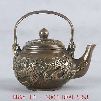 Chinese Copper Handwork Carved Dragon & Phoenix Teapot W Qing Dynasty Mark