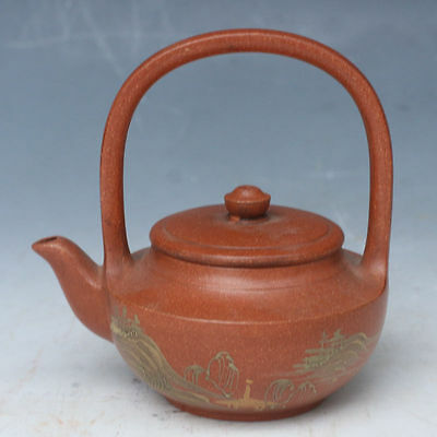 China Exquisite Hand-carved landscape Text pattern Sand-fired pot / teapot