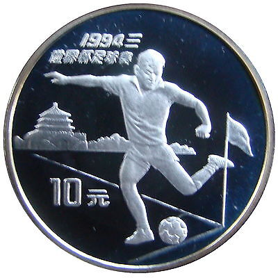 China 1994. 10 Yuan Silver Plata Proof - Mundial De Futbol 1994