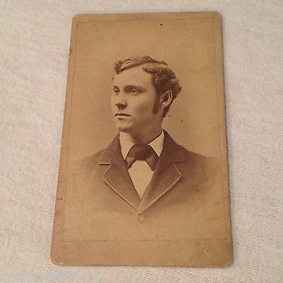 ANTIQUE CABINET PHOTO 4 x 2 wallet size PICTURE -- PORTRAIT- young man