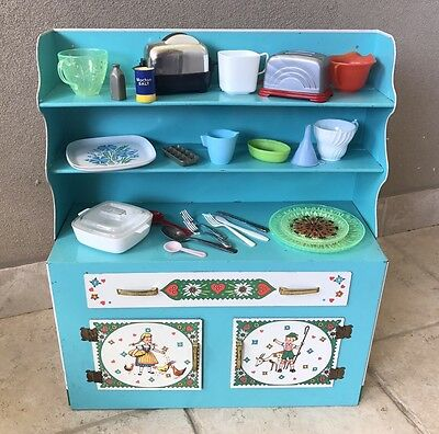 Vintage Wolverine Tin Litho Kitchen Hutch Blue And White W Accessories