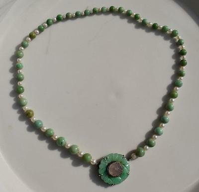 Antique Chinese Jadeite and Pearl necklace with jadeite flower pendant