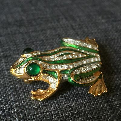 Vintage Signed Carolee Yellow Gold Tone Rhinestone Green Frog Brooch Pin
