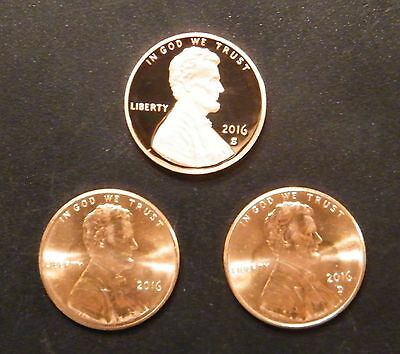 2016 P D S Lincoln Shield Cent Year Set Gem Proof & BU P&D US 3 Coin Lot.